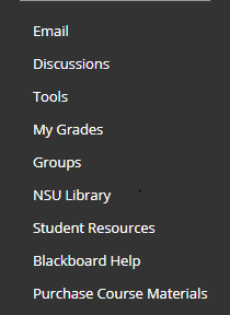 course menu in decending order, email, discussions, tools, my grades, groups, nsu library, student resources, blackboard help, purchase course materials