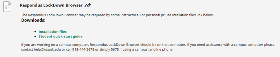 repondus lockdown browser download for installation files and student quick start guide location