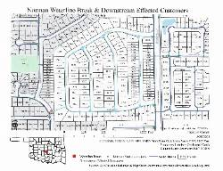 nsu geography student created map of the norman water line break and downstream affected customers